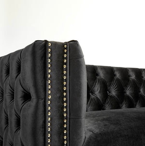 Clara Black & Gold Velvet Sofa
