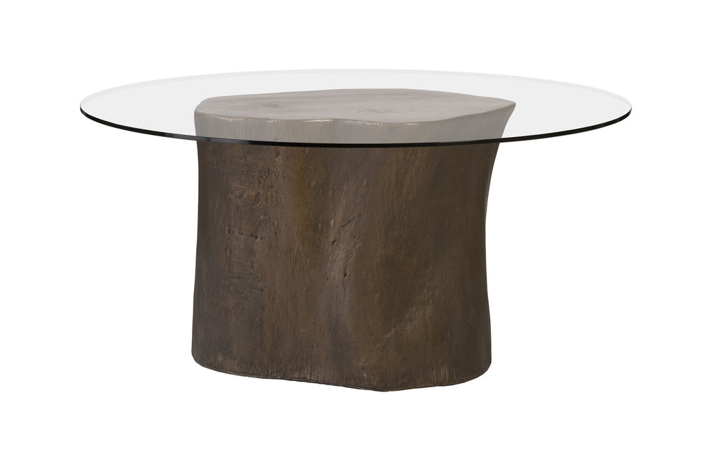 "Alba Log Dining Table with 60"" Glass Top (Bronze)"