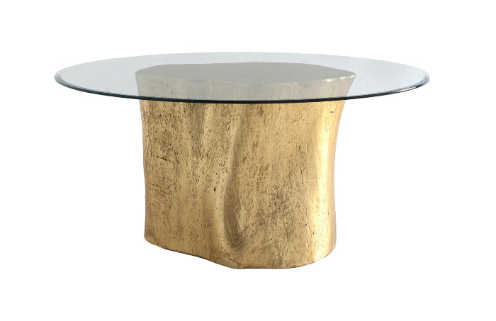 "Alba Log Dining Table with 60"" Glass Top (Gold Leaf)"
