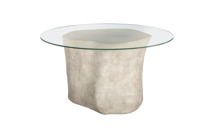 "Alba Log Dining Table with 60"" Glass Top (Roman Stone)"
