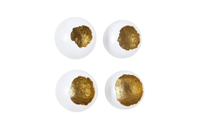 Egg Shells Wall Sculpture, White and Gold Leaf (Set of 4)