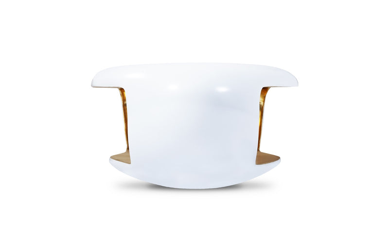 Moto Coffee Table (Pearl White and Gold Leaf)