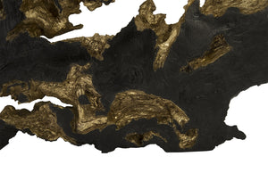 Black Gold Leaf Wood Root Wall Sculpture