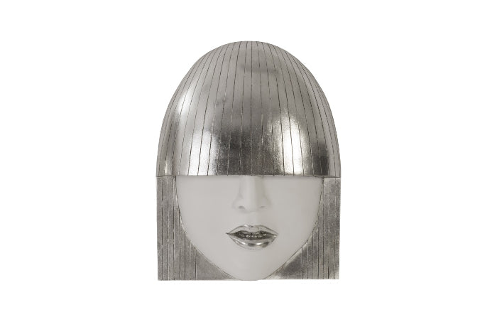 White & Silver Face Wall Sculpture (Set of 3)