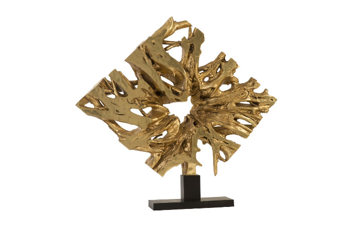 Cast Teak Sculpture on Base (Gold Leaf)