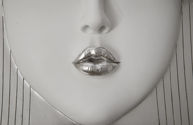 Silver Leaf Kiss Face Wall Sculpture
