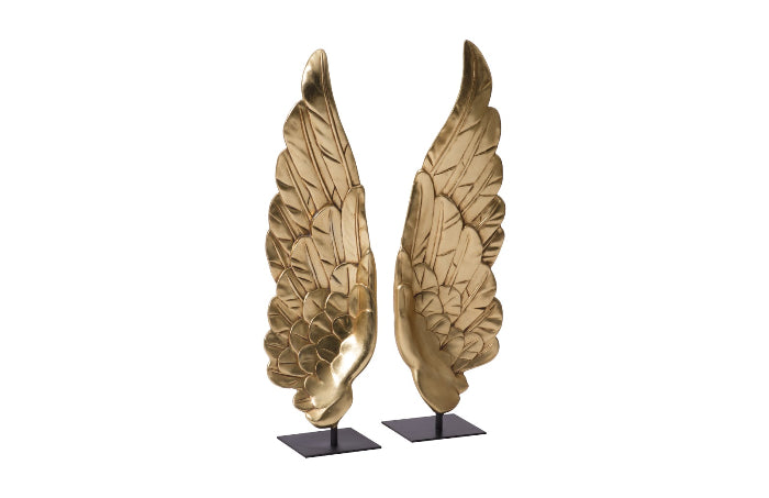 Wings Sculpture on Pedestal (Set of 2)