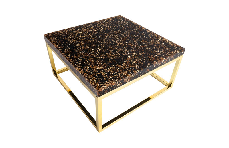 Sparkle Captured Coffee Table (Brass-Square)