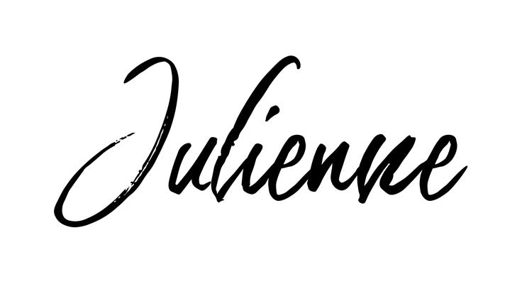 Julienne handwritten font black on white