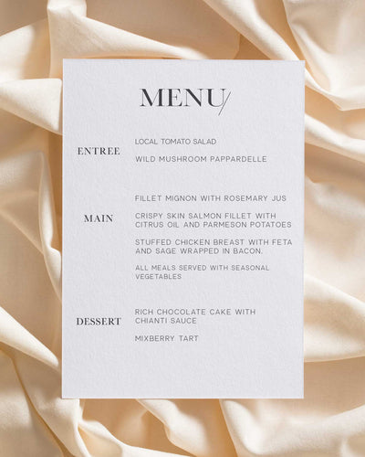 The Sum of Love Menu