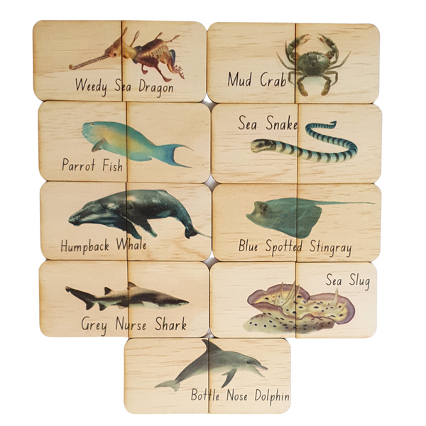 18 Piece Australian Sea Life Themed Matching Puzzles