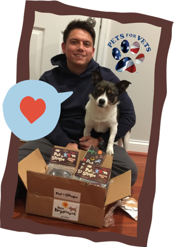 Photo of male veteran with a dog and box of happiness