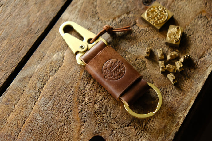 Stronghold Marbled Shell Cordovan leather key holder
