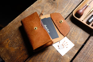 Conne leather zipper pouch wallet, Italian Pueblo leather