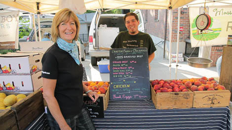 Tricia talks to Chris from Chaffin Family Orchard