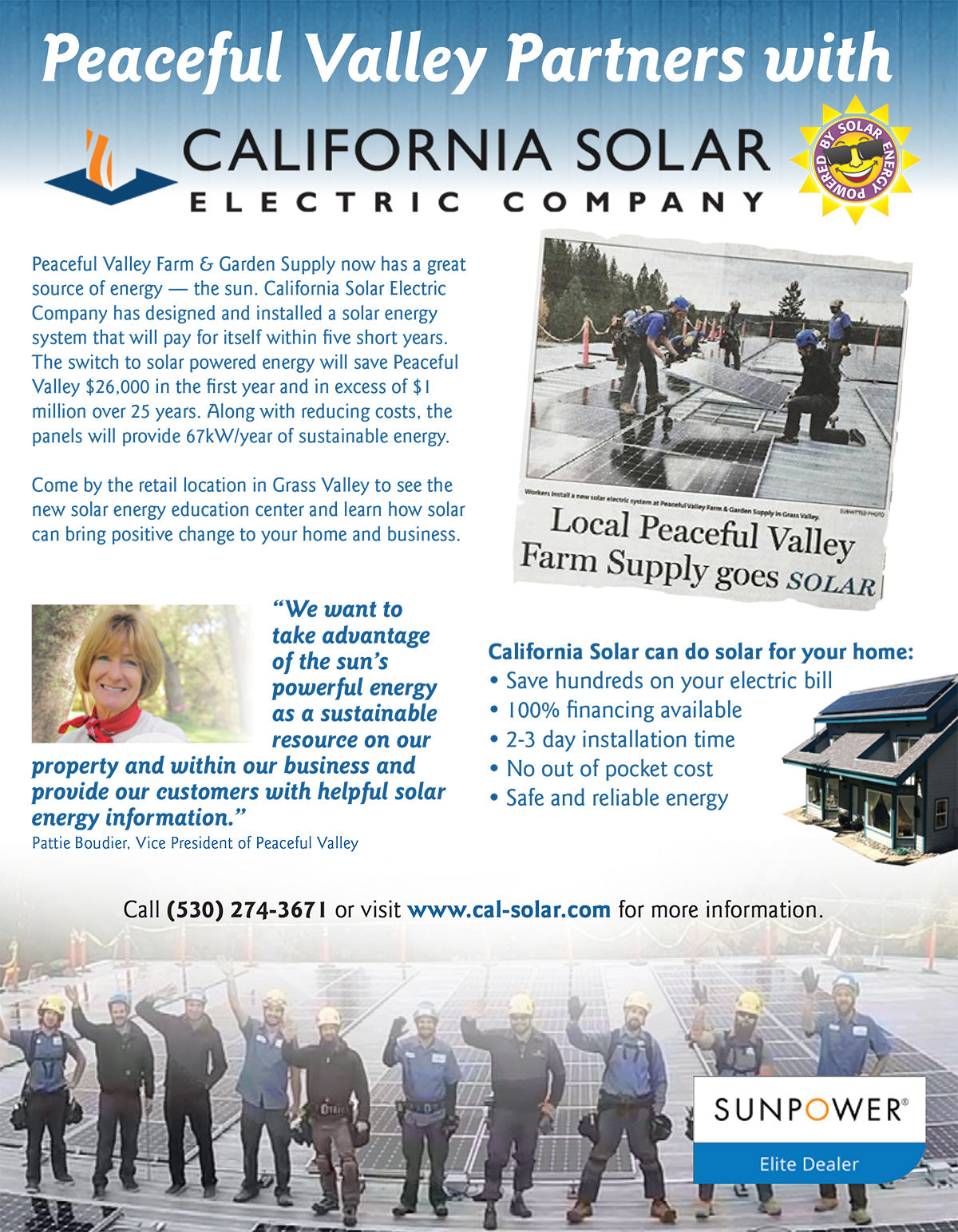 Peaceful Valley has Partnered with California Solar Electric Company
