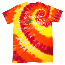 Load image into Gallery viewer, Peaceful Valley's Organic T Shirt Tie Dye Red/Orange/Yellow