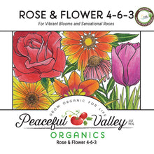 Load image into Gallery viewer, Peaceful Valley Organics Rose and Flower 4-6-3 (25 lb)