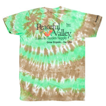 Load image into Gallery viewer, Peaceful Valley's Organic T Shirt Tie Dye Green/Brown