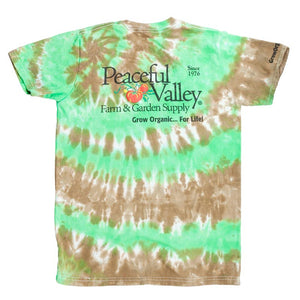 Peaceful Valley's Organic T Shirt Tie Dye Green/Brown (X-Large)