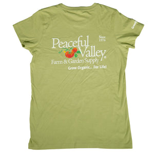 Peaceful Valley's Organic Women's Wasabi T-Shirt (XX-Large)