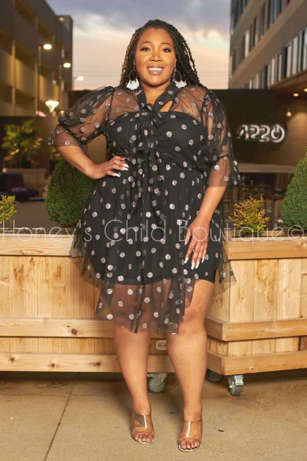 Dollface Metallic Dot Skater Dress-Dress-The Curve LA-[plus_size]-Honey's Child Boutique