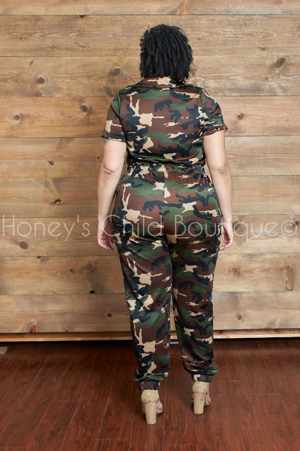 Curves Brigade Camo Jumpsuit- Dark Camo-400 Romper/Jumpsuits-The Curve LA-[plus_size]-Honey's Child Boutique