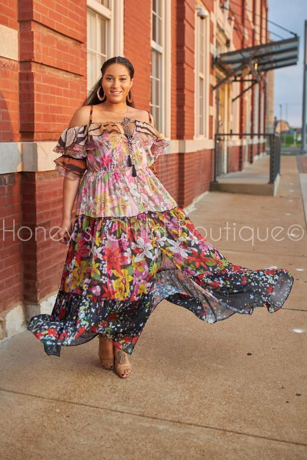 Dahlia Mixed Print Floral Maxi Dress-Dress-Latiste-[plus_size]-Honey's Child Boutique
