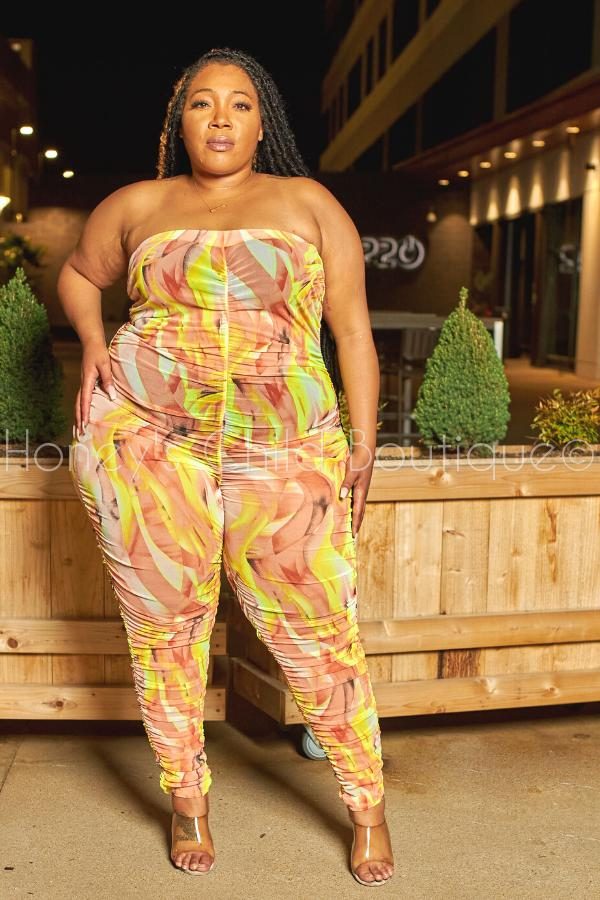 Meshin with You Ruched Mesh Jumpsuit-Romper-The Curve LA-[plus_size]-Honey's Child Boutique