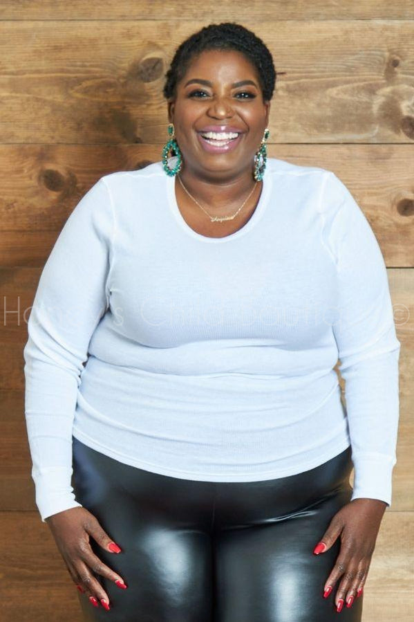 Waffle Long Sleeve Tee-500 Tops, Casual-LASHOWROOM-[plus_size]-Honey's Child Boutique