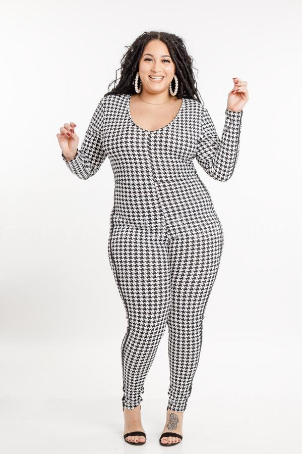 High Maintenance Houndstooth Jumpsuit-400 Romper/Jumpsuits-Sexy Diva-[plus_size]-Honey's Child Boutique