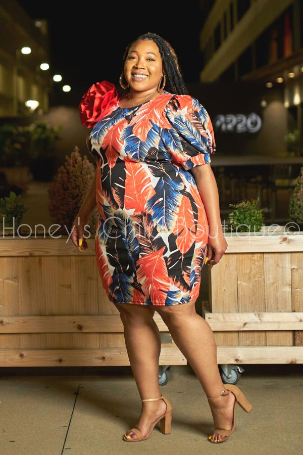 Tropicalia Big Bow Dress-Dress-The Curve LA-[plus_size]-Honey's Child Boutique