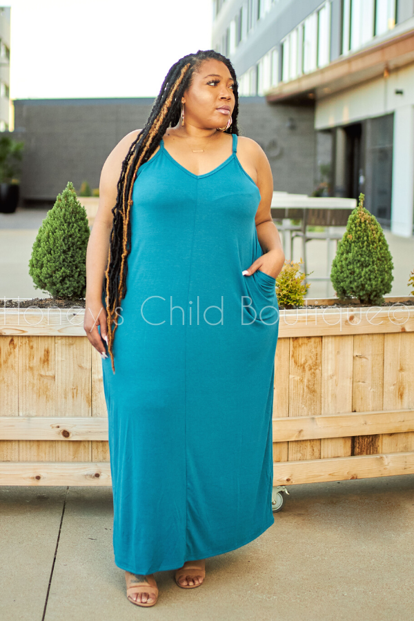 Breezy Maxi Dress - Teal-Dress-Honey's Child Boutique-[plus_size]-Honey's Child Boutique