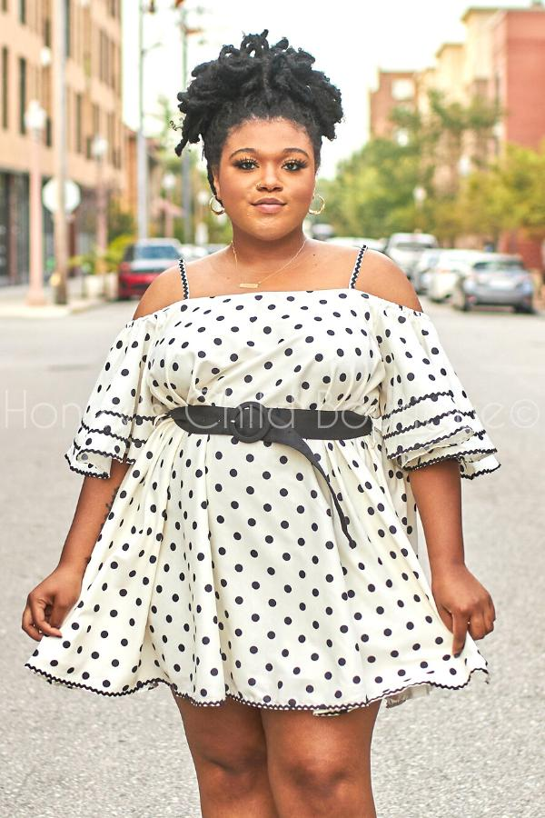 Make You Smile Polka Dot Swing Dress 1x-4x-230 - Skater Dress-Honey's Child Boutique-[plus_size]-Honey's Child Boutique