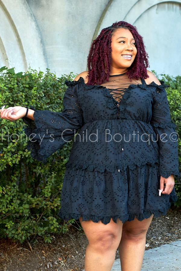 Last Night Eyelet Fit & Flare Dress-Dress-Latiste-[plus_size]-Honey's Child Boutique