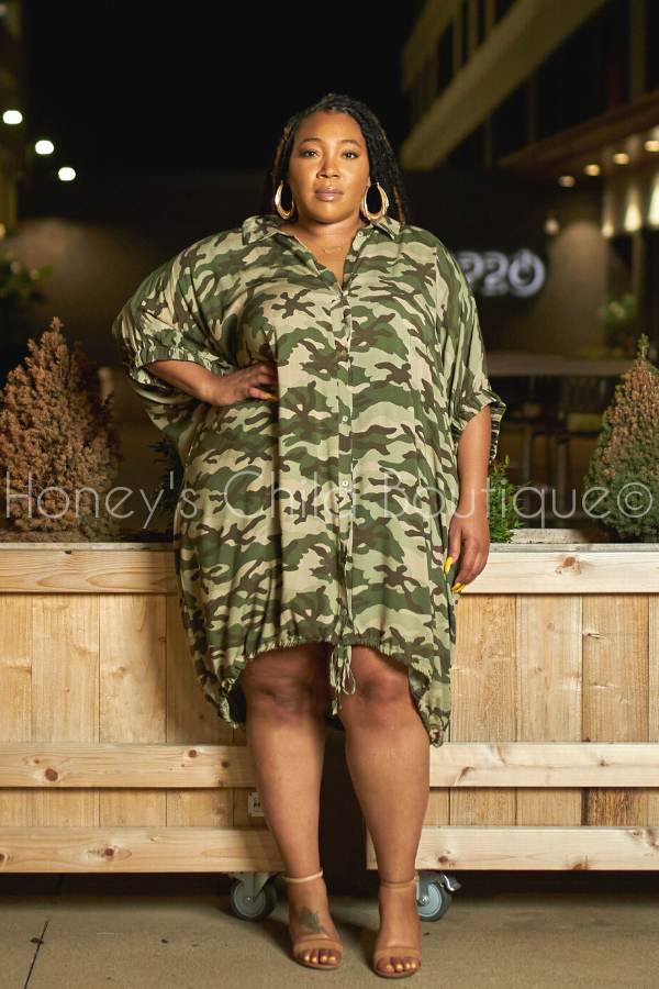Hey Friend Oversize Shirt Dress - Camo-Dress-The Curve LA-[plus_size]-Honey's Child Boutique