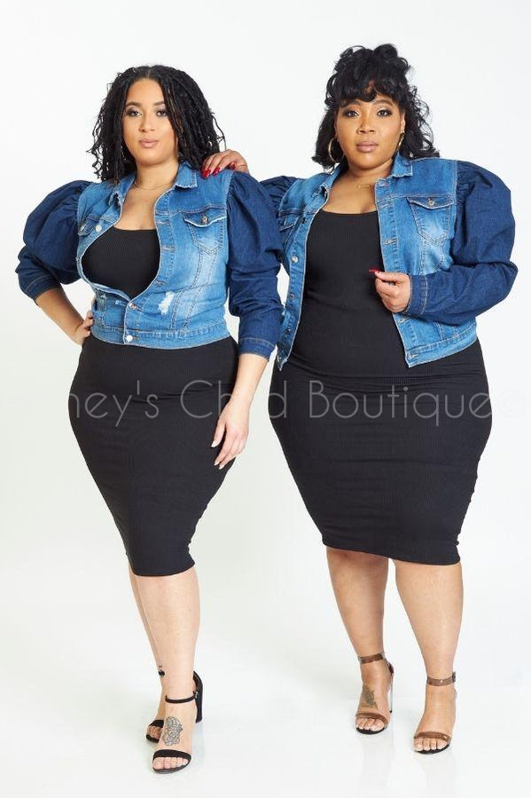 Double Dare Puff Sleeve Denim Jacket-710 Outterwear-Classic Blue Jeans-[plus_size]-Honey's Child Boutique