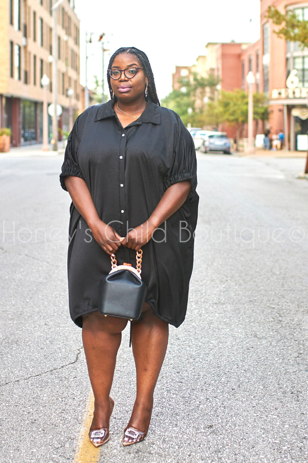 Hey Friend Oversize Shirt Dress - Black-240 Other Dress-The Curve LA-[plus_size]-Honey's Child Boutique