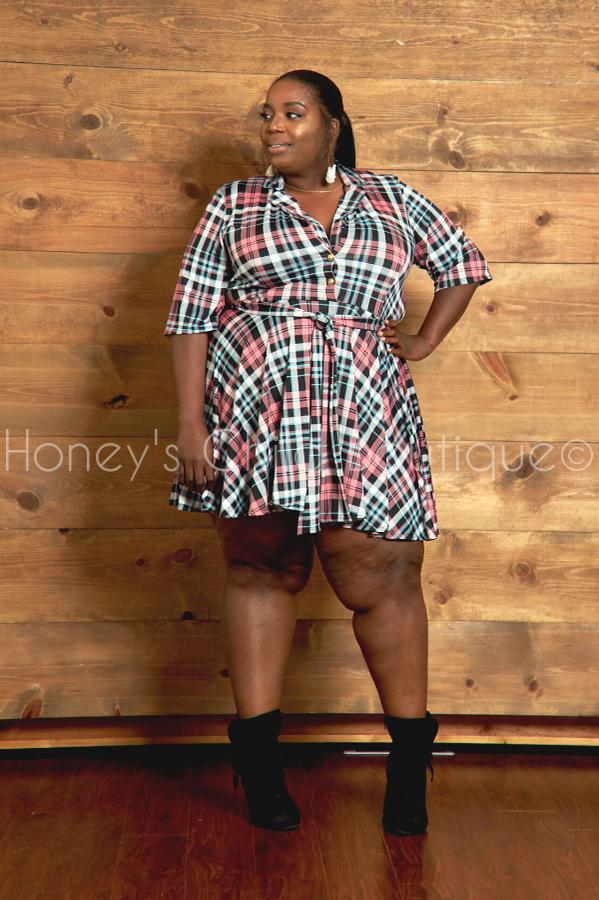 Can't School Me Plaid Skater Dress-230 - Skater Dress-Sexy Diva-[plus_size]-Honey's Child Boutique
