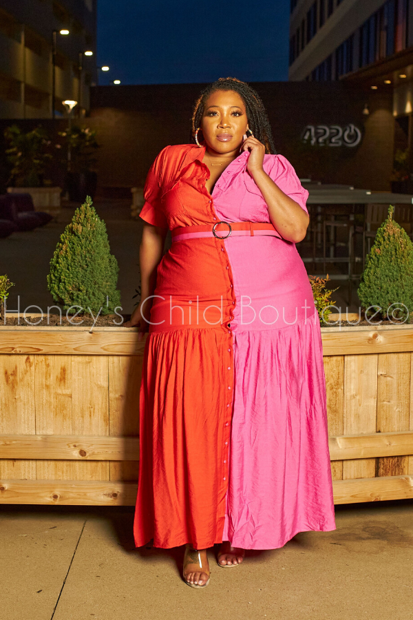 Strawberry Cherry Color Block Maxi Dress-Dress-Latiste-[plus_size]-Honey's Child Boutique