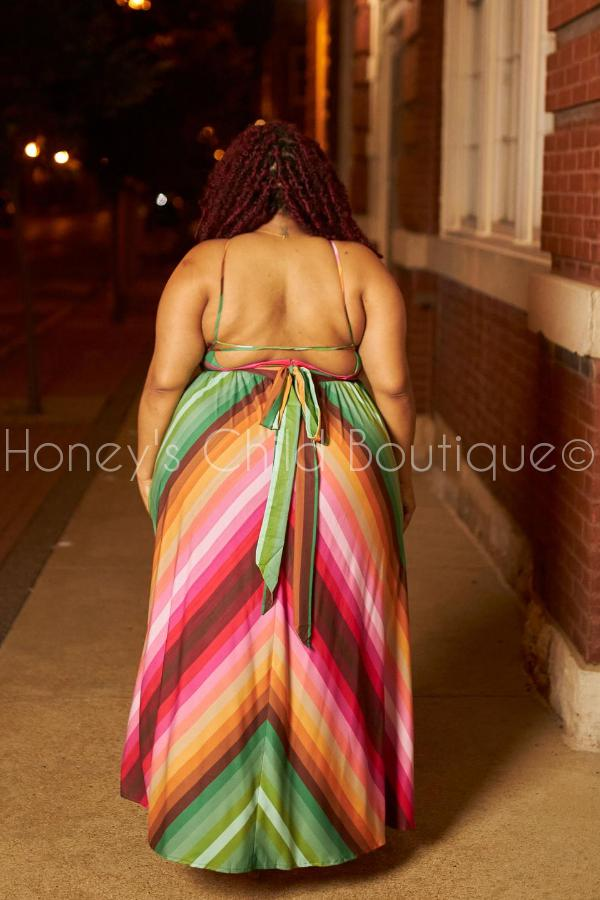 Charmed Multi Color Halter Dress-Dress-Latiste-[plus_size]-Honey's Child Boutique