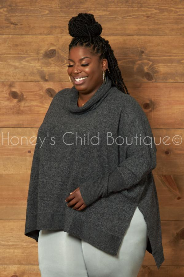 Come Over Cowl Neck Poncho Sweater-710 Outterwear-Zenana-[plus_size]-Honey's Child Boutique