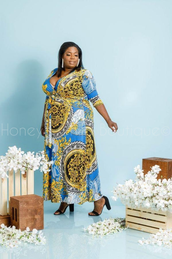 Fine Art Maxi Dress-201 Maxi Dressy, Print-Jeanette Plus-[plus_size]-Honey's Child Boutique