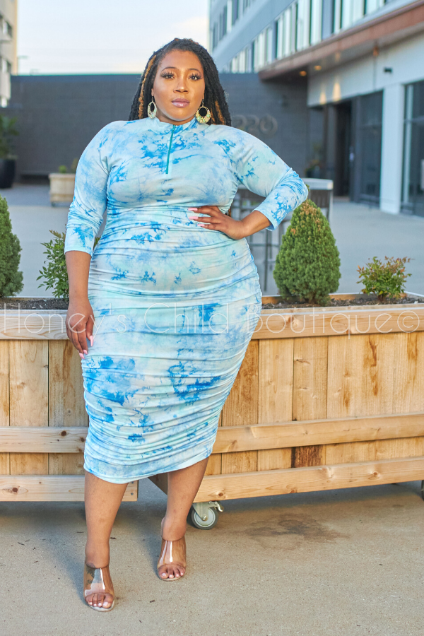 Deep Sea Tie Dye Midi Dress - White Marble-Dress-Good Time-[plus_size]-Honey's Child Boutique