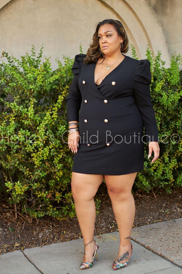 Lux Tux Puff Sleeve Mini Blazer Dress-240 Other Dress-Latiste-[plus_size]-Honey's Child Boutique