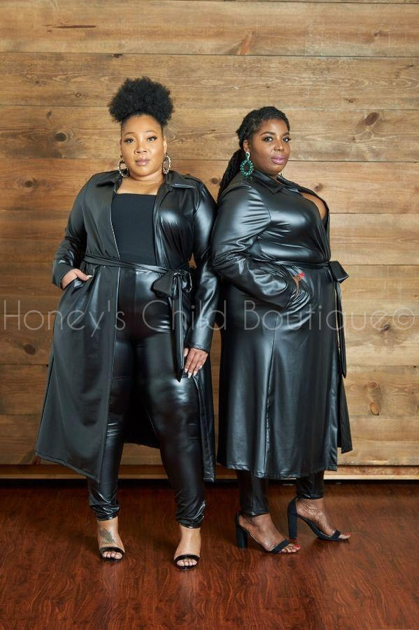 Black Magic Vegan Leather Belted Duster-700 Duster-Sexy Diva-[plus_size]-Honey's Child Boutique