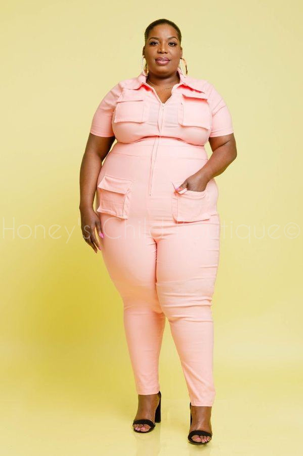 Never Slippin Stretch Denim Jumpsuit-400 Romper/Jumpsuits-Highlight-[plus_size]-Honey's Child Boutique