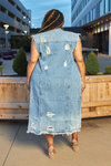 Don't Stress Distressed Denim Maxi Vest *RESTOCKED*-Duster-Veveret-[plus_size]-Honey's Child Boutique