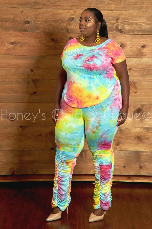 Material Girl Tie Dye Ruched Pants Set - Rainbow-310 - Sets/Casual-The Curve LA-[plus_size]-Honey's Child Boutique