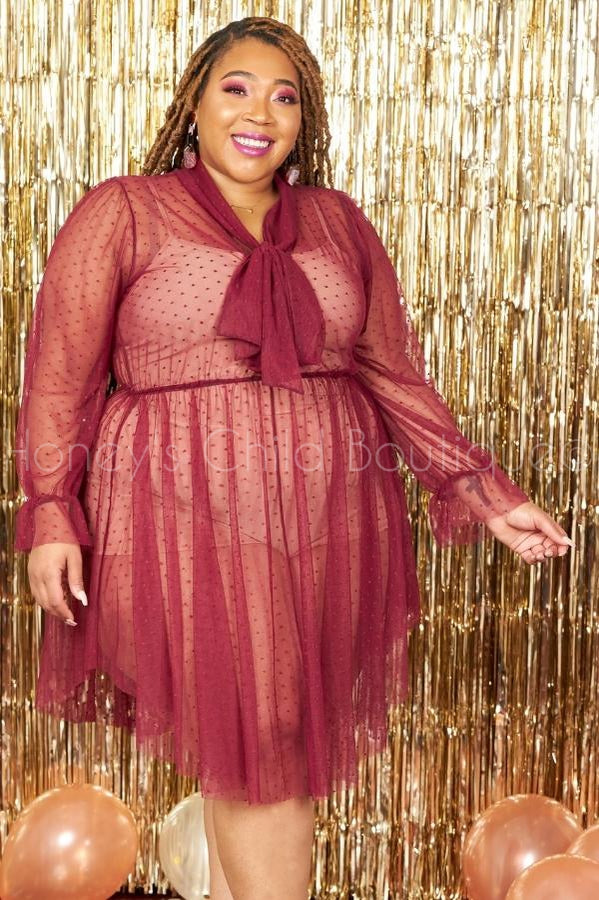 Dollface Sheer Polka Dot Skater Dress 2.0-230 - Skater Dress-The Curve LA-[plus_size]-Honey's Child Boutique
